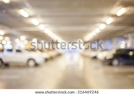 Abstract blur parking car indoor for background - stock photo