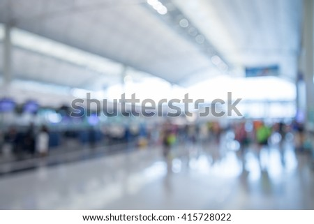 Abstract blur passengers on the walkway in airport background