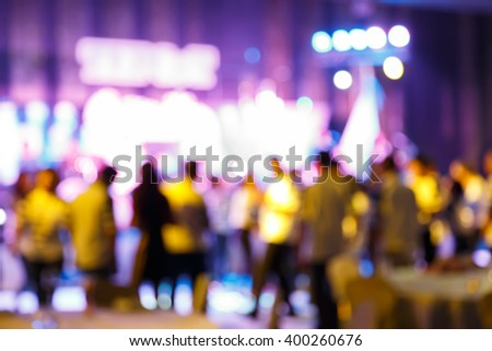 Abstract blur people in party and concert, nightlife sociability lifestyle concept - stock photo