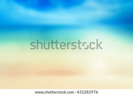 Abstract Blur Sunny Beach Sea Background with copy space for your design - stock photo