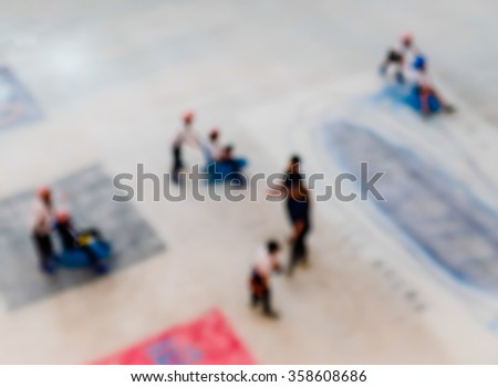 Abstract blur the childhood playing  on ice skate park. - stock photo