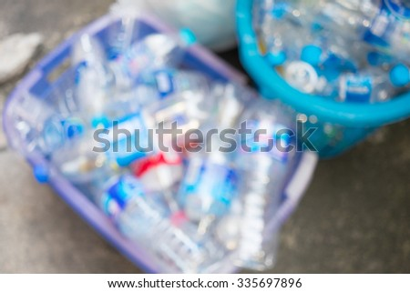 Abstract blur used PET plastic bottle as background