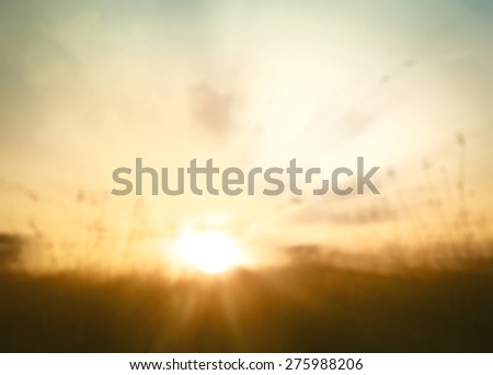 Abstract blurred art rural landscape. Yellow Autumn Nature Background Ecology Peaceful Merry Christmas Card Happy New Year 2016 2017 Light Heaven World Mental Day Retro Ray Bokeh Flare Park concept. - stock photo