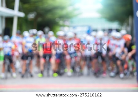Abstract blurred background. Bicycle in Bokeh lens flare - stock photo