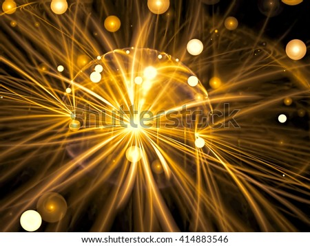 Abstract blurred background - computer-generated golden image. Chaos bubbles and curves on a dark background. Fractal artwork for web-design, banners, posters. - stock photo