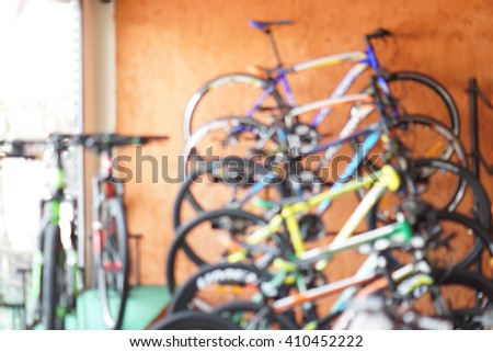 Abstract blurred background of a bicycle shop