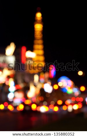 Abstract blurred background of Eiffel tower on Las Vegas Strip - stock photo