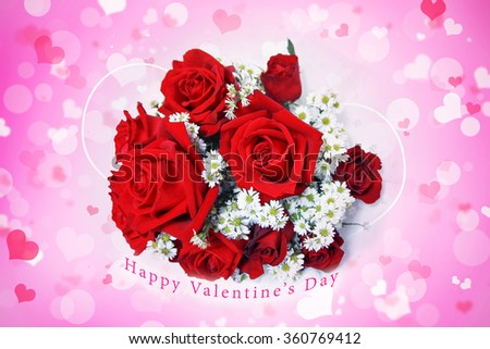 Abstract blurred background of Illustration Valentine's day concept. Pink white hearts wallpaper. Flower love card. Pastel color tones. Bouquet of beautiful red roses. Happy valentine's day arc text. - stock photo