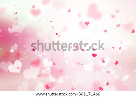 Abstract blurred background of Illustration Valentine's day concept. Pink white hearts wallpaper. Valentines Day Card. Pastel color tones. - stock photo