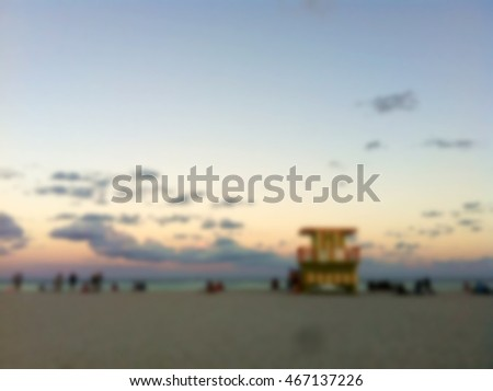 Abstract blurred beach summer background with beautiful sky.