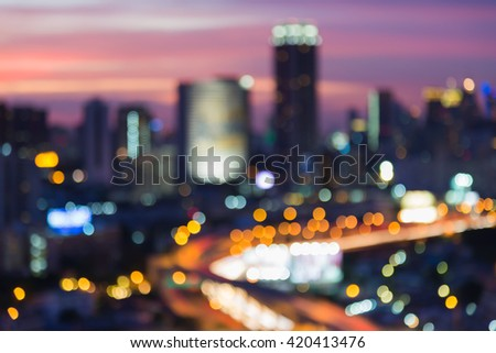 Abstract blurred bokeh, city and highway interchanged lights night view - stock photo