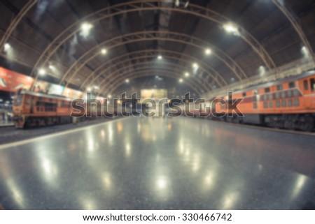 Abstract blurred car and train station in Bangkok,Thailand - stock photo
