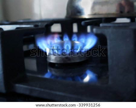 Abstract blurred gas burning from a kitchen gas stove. Great background.