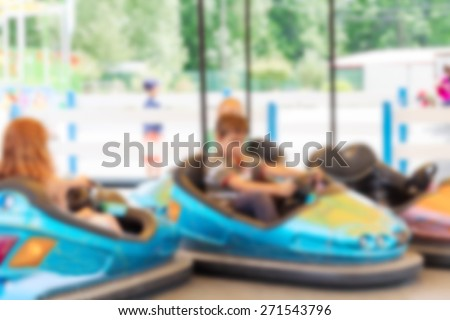 Abstract blurred image of an amusement park for background - stock photo