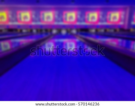 Abstract blurred image of bowling alley. Blur backgrounds concept