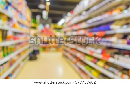 Abstract blurred image of s grocery store for background usage .