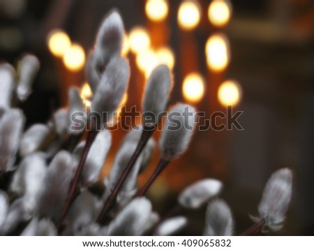 Abstract blurred image. Religious holiday Orthodox Church. Prayer liturgy with candles. - stock photo