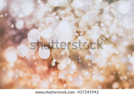 abstract blurred of blue and silver glittering shine bulbs lights background:blur of Christmas wallpaper - stock photo