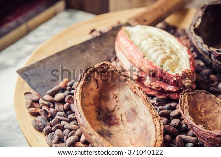 Abstract blurred of cocoa seeds and cocoa beans on the wooden tray - stock photo