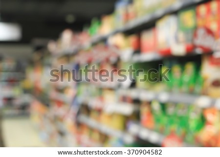 abstract blurred of shelves in department store with products background:blur perspective  of supermarket backdrop with goods in shelf concept:blur local market image ideal.shopping mall - stock photo