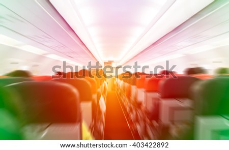 Abstract blurred or de focus plane cabin on pastel filter style background - stock photo