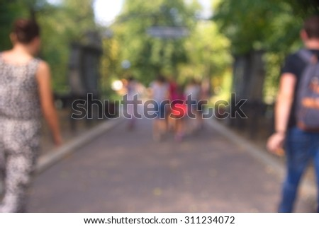 Abstract blurred people in press conference event, - stock photo