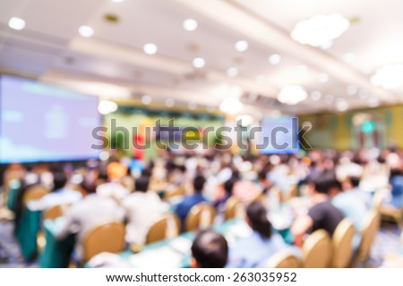 Abstract blurred people lecture in seminar room, education concept - stock photo