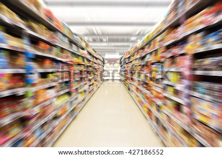 Abstract blurred photo of store in department store, Empty supermarket aisle, Motion blur  - stock photo