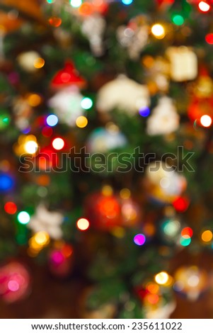 Abstract blurred photography christmas tree - holiday background - stock photo