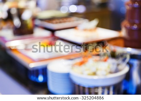 Abstract blurred restaurant or food center with light bokeh background, party lifestyle