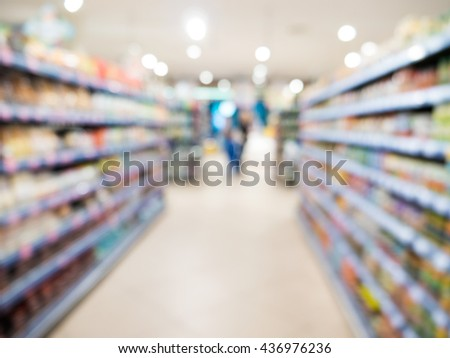 Abstract blurred supermarketfor background, urban lifestyle concept.
