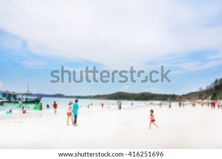 Abstract blurred surfing wave on summer ocean beach background . Blue water and sky bright. Nature wallpaper blur of sea daytime. View outdoor window. People were swimming in the sea playfully. - stock photo