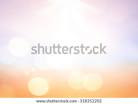 Abstract blurred textured background: orange pink and blue patterns. Blurred nature background. Sandy beach backdrop with turquoise water and bright sun light. Summer holidays concept. - stock photo
