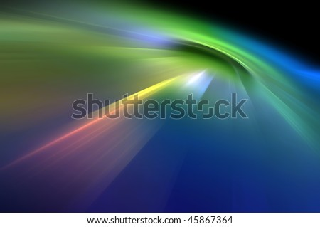 Abstract blurry background in blue and green tones representing explosion or burst of energy. - stock photo