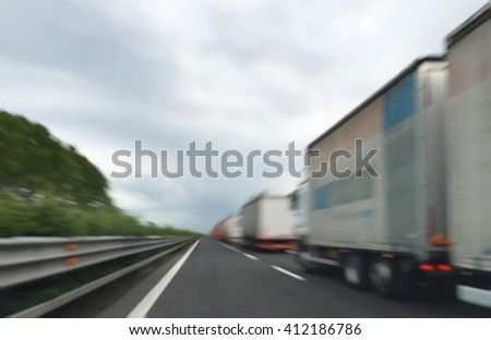 Abstract blurry background: Traffic jam on highway - stock photo