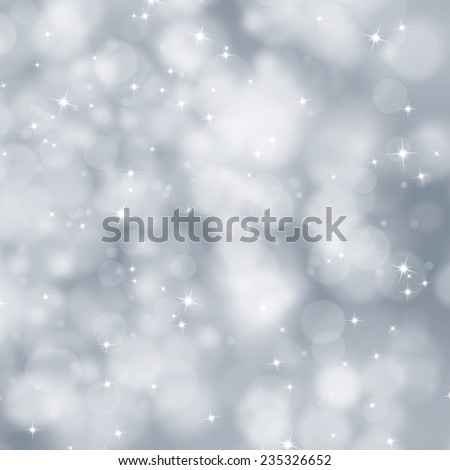 Abstract blurry silver color winter Christmas background illustration with sparkle. - stock photo