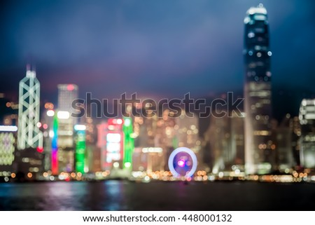 Abstract bokeh background of Hong Kong Victoria Harbor