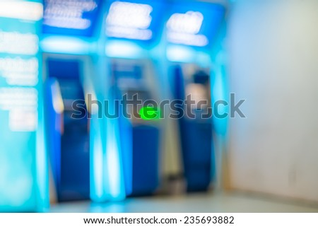 Abstract Bokeh color light of ATM cabinet - stock photo