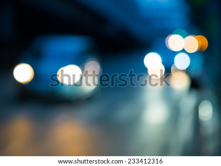 Abstract Bokeh color light of traffic car on road - stock photo