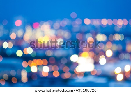 Abstract bokeh light background of city night - stock photo