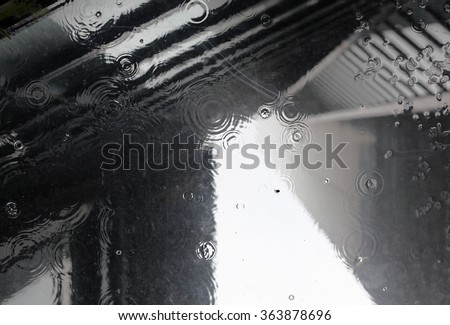 Abstract bokeh of modern highrise building with raindrop ripple.  - stock photo