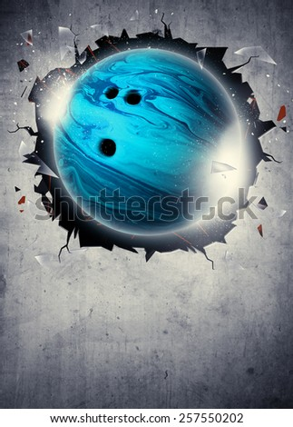Abstract bowling sport invitation poster or flyer background with empty space - stock photo