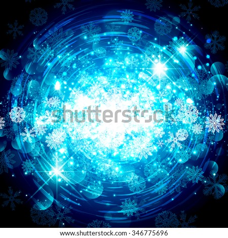 Abstract Bright Blue Snowflake Christmas Star Background - stock photo