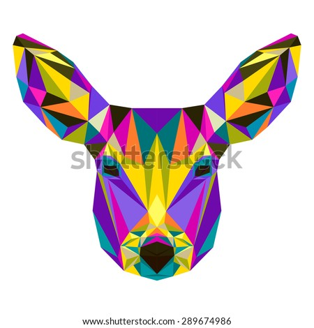 Abstract bright colored polygonal triangle geometric deer isolated on white background for use in design for card, invitation, poster, banner, placard or billboard cover. Raster copy - stock photo