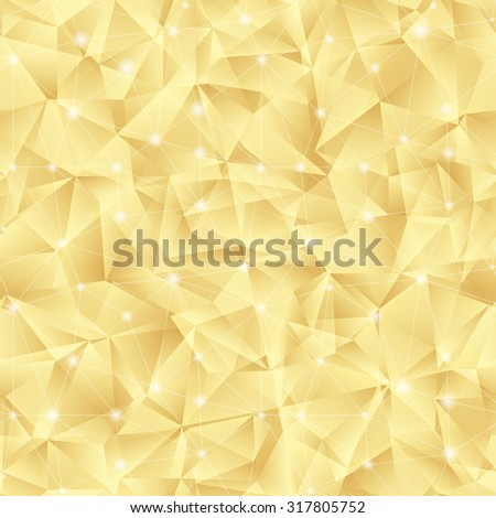 Abstract bright gold pattern from triangles with lights. Luxury background for your design. - stock photo