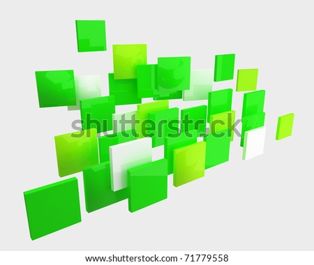 abstract bright green squares isolated - stock photo