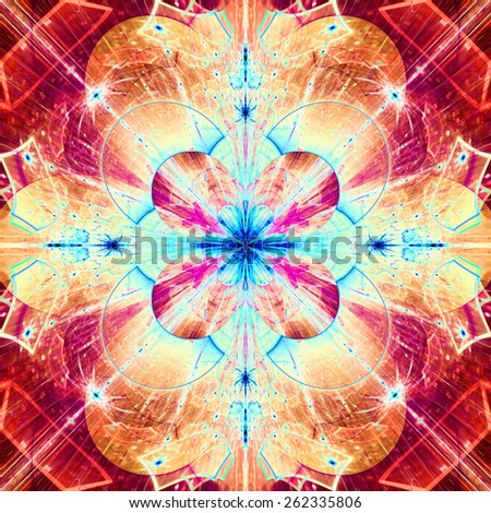 Abstract bright high resolution fractal background with a detailed abstract cross-like flower/star with four petals in the middle, all in red,pink,yellow,blue - stock photo