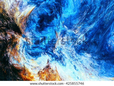 Abstract bright motion composition. Modern futuristic dynamic painting background. Blue and yellow color artistic pattern. Fractal artwork for creative graphic design - stock photo