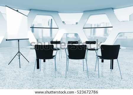 Abstract Bright Office Meeting Room extreme closeup in blue key. 3d Rendering