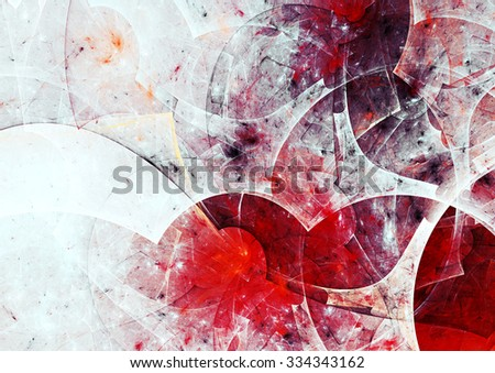 Abstract bright painting texture. White and red color pattern. Modern futuristic winter background. Fractal artwork for creative graphic design